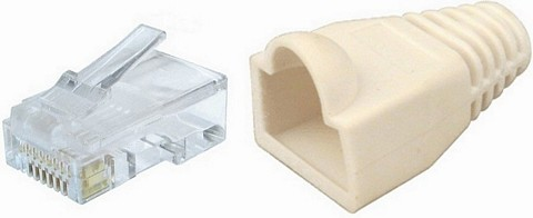 RJ45 Network Ethernet Cable Crimp Ends & White Snagless Boots